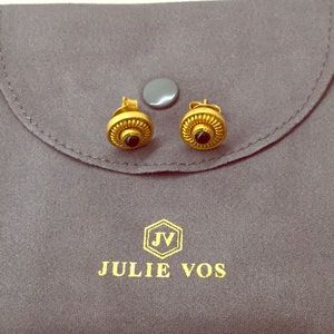 Julie Vos Gold and Onyx Button Earrings